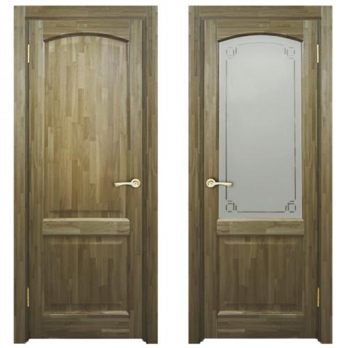 Двери из массива дуба Классика №5 цвет Орех светлый