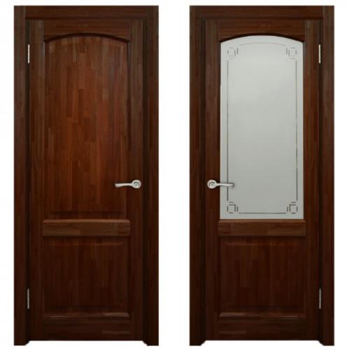 Двери из массива дуба Классика №5 цвет Красное дерево