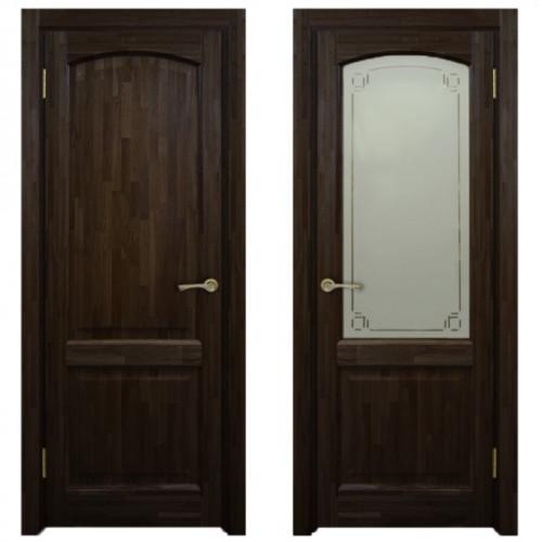 Двери из массива дуба Классика №5 цвет Миланский орех