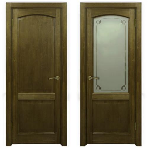Двери из массива дуба Классика №5 цвет Золотой орех