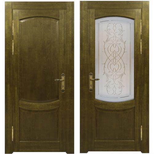 Двери из массива дуба Классика №1 цвет Золотой орех