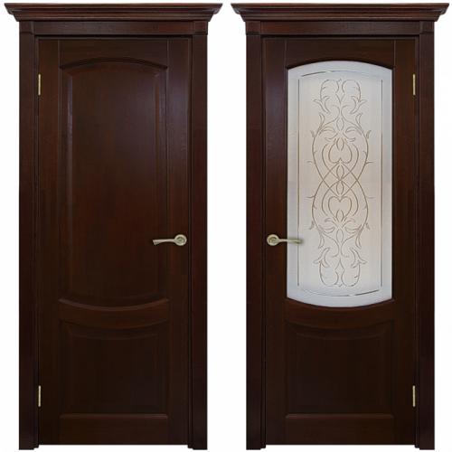 Двери из массива дуба Классика №1 цвет Вишня