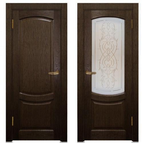 Двери из массива дуба Классика №1 цвет Мореный дуб