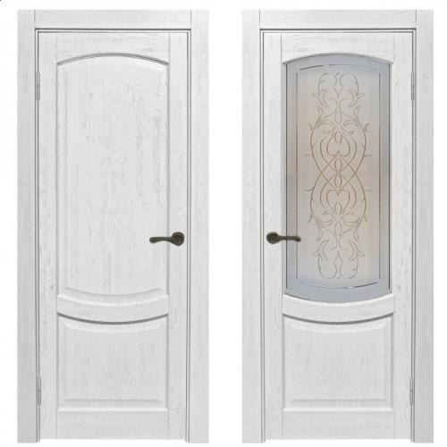 Двери из массива дуба Классика №1 цвет Белое золото