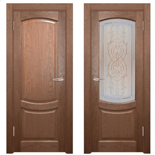 Двери из массива дуба Классика №1 цвет Капучино