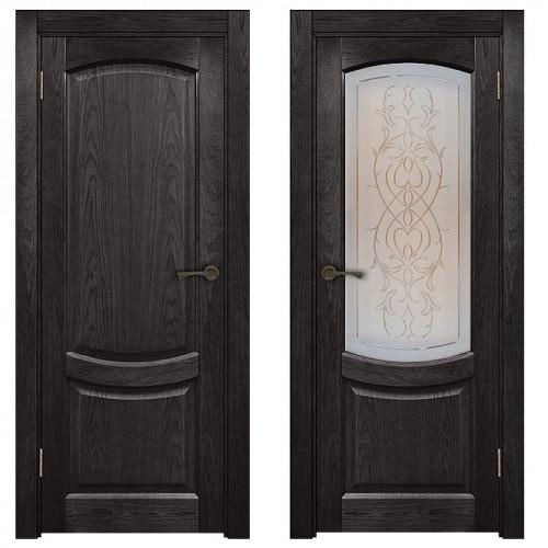 Двери из массива дуба Классика №1 цвет Седой венге патина