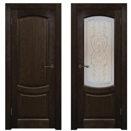Двери из массива дуба Классика №1 цвет Венге браш