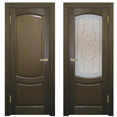 Двери из массива дуба Классика №1 цвет Чёрная патина