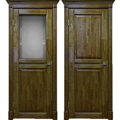 Двери из массива дуба Классика №2 цвет Золотой орех