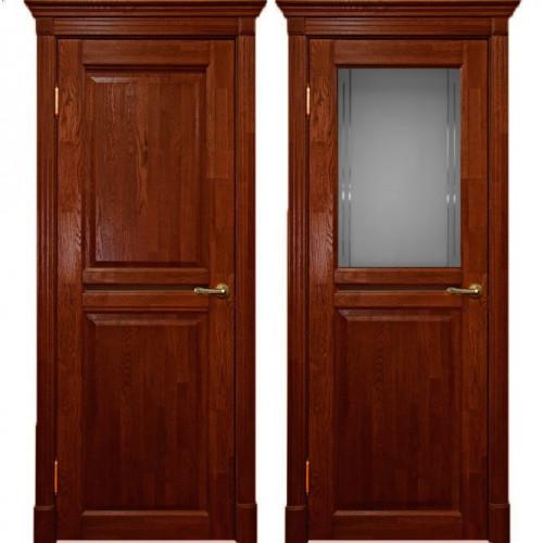 Двери из массива дуба Классика №2 цвет Красное дерево