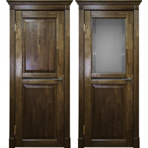 Двери из массива дуба Классика №2 цвет Орех чёрная патина