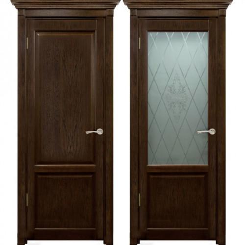 Двери из массива дуба Классика №3 цвет Мореный дуб
