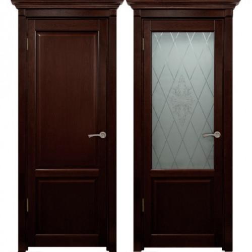Двери из массива дуба Классика №3 цвет Вишня