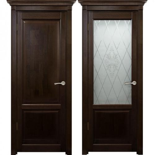 Двери из массива дуба Классика №3 цвет Миланских орех
